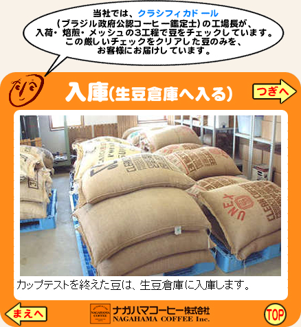ナガハマコーヒーができるまで 入庫(生豆倉庫へ入る)
